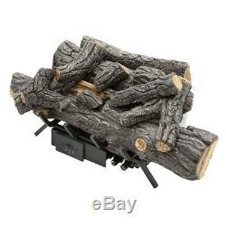 18 in Ventless Natural Gas Fireplace Logs Operate U-shaped Burner Remote Control