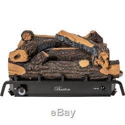 18 inch Vent-Free Natural Gas Log Set 30,000 BTU Dual Burner Glowing Ember