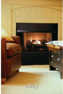 24 in. Natural Gas Fireplace Log Set Vent Free Decorative Large Logs Grate Auto