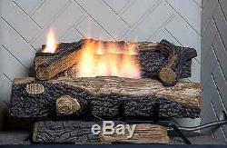 24 in. Vent-Free Natural Gas Fireplace Logs Log Set DIY Insert Heat Kit Burner