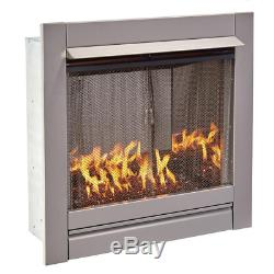 31.5 In. Stainless Vent-Free Outdoor Gas Fireplace Insert With Copper Fire Glass