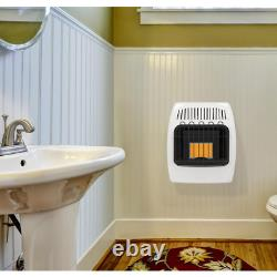 6,000BTU Propane Gas Wall Heater Infrared Vent Free Indoor Dial Control White