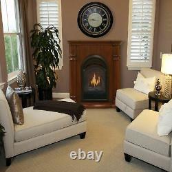 Bluegrass Living Vent Free Natural Gas Fireplace System 10K BTU, T-Stat, Cherry