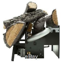 Emberglow Fireplace Logs Vent-Free Natural Gas Log Remote 18 in. Savannah Oak