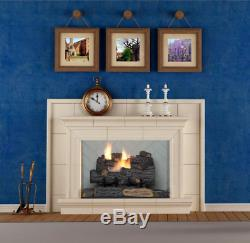 Emberglow Natural Gas Fireplace Log Remote Control Realistic 18 Inch Vent Free