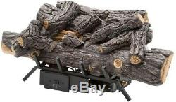 Emberglow Natural Gas Fireplace Logs Vent-Free Remote Control Automatic Shut-Off