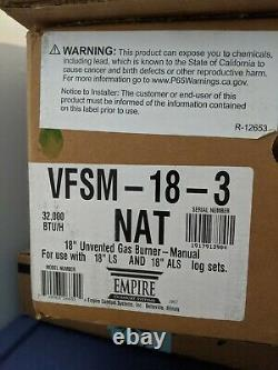 Empire 18 Sassafras Logset with Manual vent free Slope Glaze Burner, Naturalgas