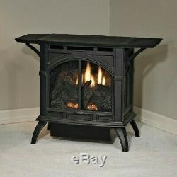 Empire Vent Free Cast Iron Stove MV Natural Gas Porcelain Black withLog Set Medium