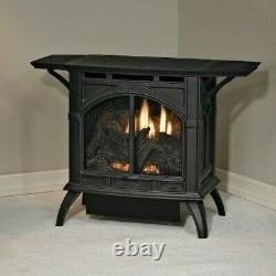 Empire Vent Free Cast Iron Stove MV Natural Gas Porcelain Black with Log Set