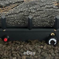 Fireplace Logs 24.25 Inch Oak Vent Free Dual Fuel Natural Propane Gas 30000 BTU