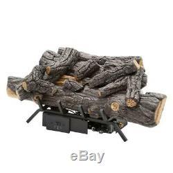 Fireplace Logs Vent Free Natural Gas Savannah Oak Remote Control Heat Efficiency