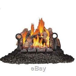 Gas Log Fireplace 18 Inch Vent Free Log Burner Set Insert for Natural