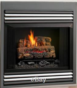 Kingsman ZVF33 Zero Clearance Vent Free Natural Gas Fireplace with Black Grill Kit