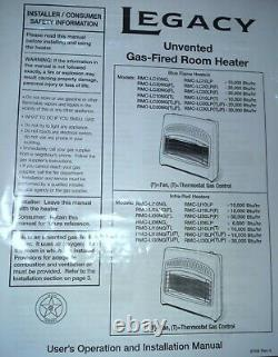 Legacy 20,000 Btu Blue Flame Natural Gas Vent Free Wall or floor Heater / Manual