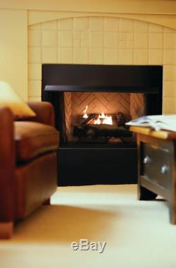 Natural Gas Fireplace Insert Fake Faux Logs Ventless Thermostat Vent Free NEW