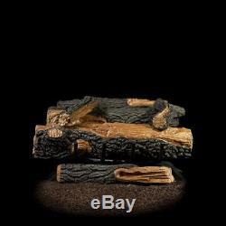 Natural Gas Fireplace Logs Set Manual Control Vent Free Dual U Shaped Burner