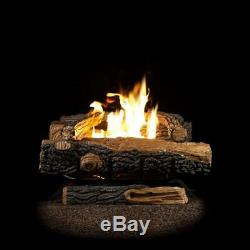 Natural Gas Fireplace Logs Vent-Free Thermostatic Control 24 Inch Home Basement