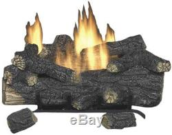Natural Gas Fireplace Logs with Remote Savannah Oak 30 in. Vent Free 39000 BTU