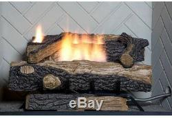 Oakwood 24 in. Vent Free Natural Gas Fireplace Log Set Heater Logs Kit Emberglow