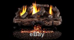 Real Fyre Charred Aged Split 18 Vent Free Gas Log Natural Gas with Remote