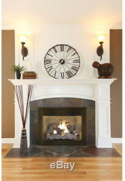 Vent Free Dual Fuel Fireplace Logs Insert 24 inch Natural Gas Propane Thermostat